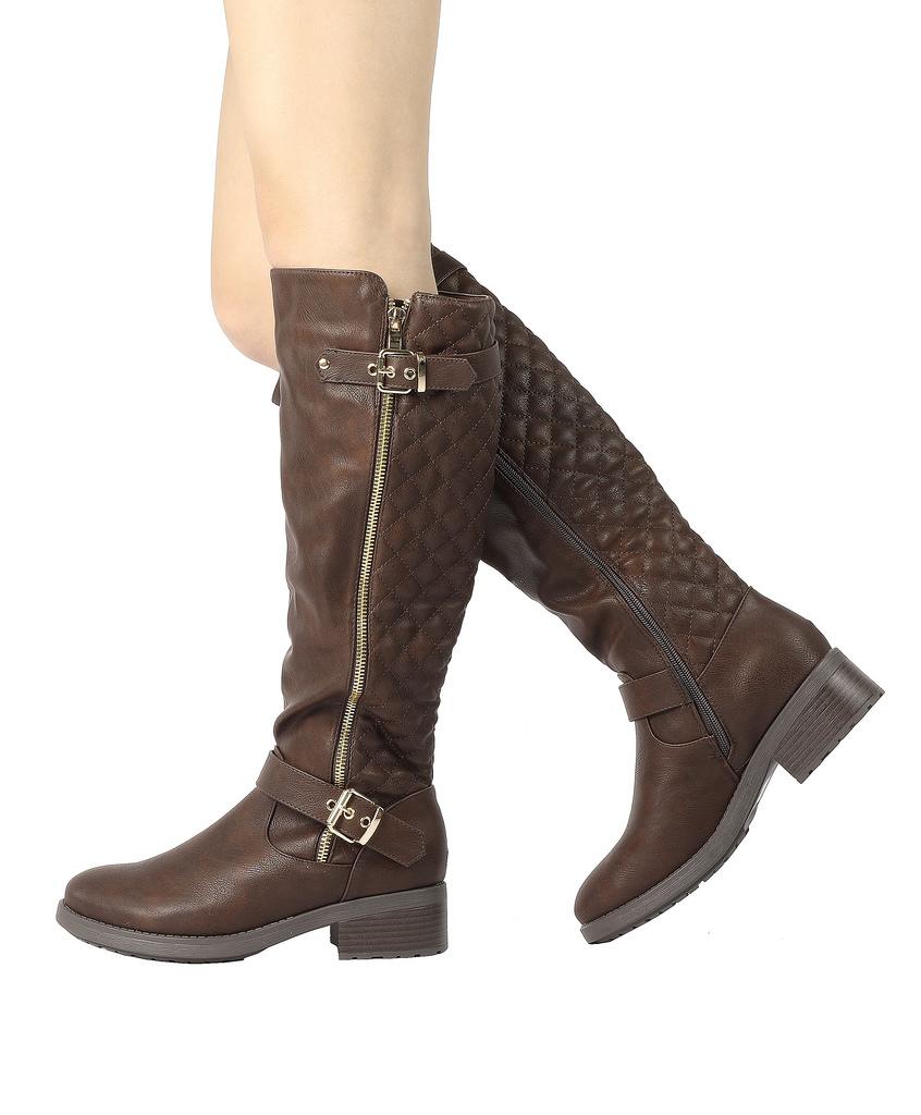 DREAM-PAIRS-Women-UTAH-Inner-Zipper-Knee-High-Riding-Boots-Wide-Calf-Available thumbnail 13