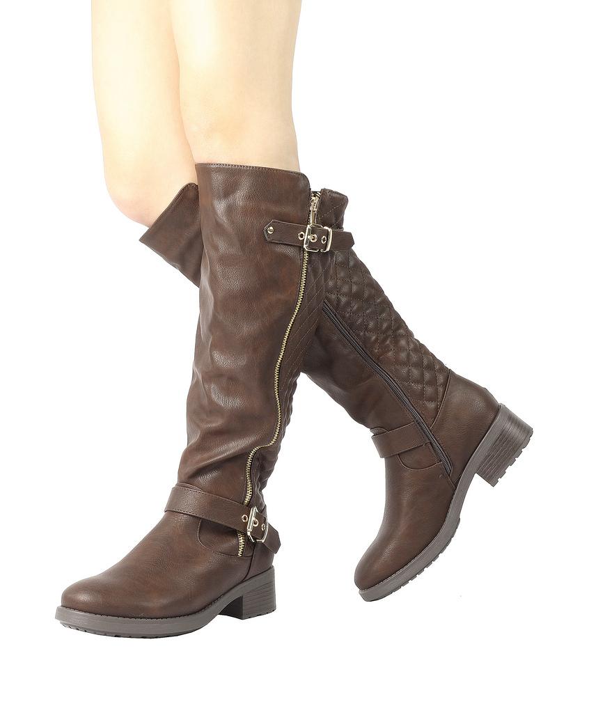 DREAM-PAIRS-Women-UTAH-Inner-Zipper-Knee-High-Riding-Boots-Wide-Calf-Available thumbnail 12