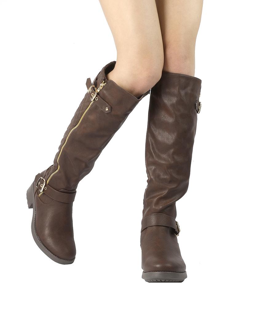 DREAM-PAIRS-Women-UTAH-Inner-Zipper-Knee-High-Riding-Boots-Wide-Calf-Available thumbnail 15
