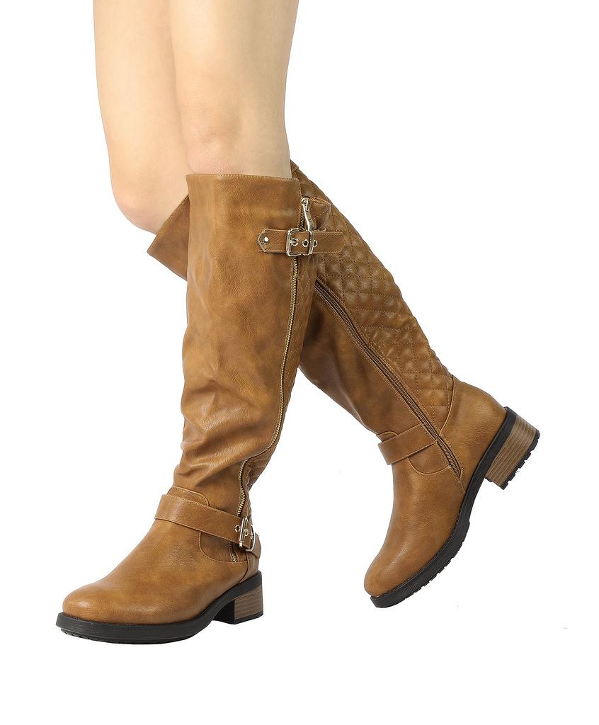 DREAM-PAIRS-Women-UTAH-Inner-Zipper-Knee-High-Riding-Boots-Wide-Calf-Available thumbnail 17