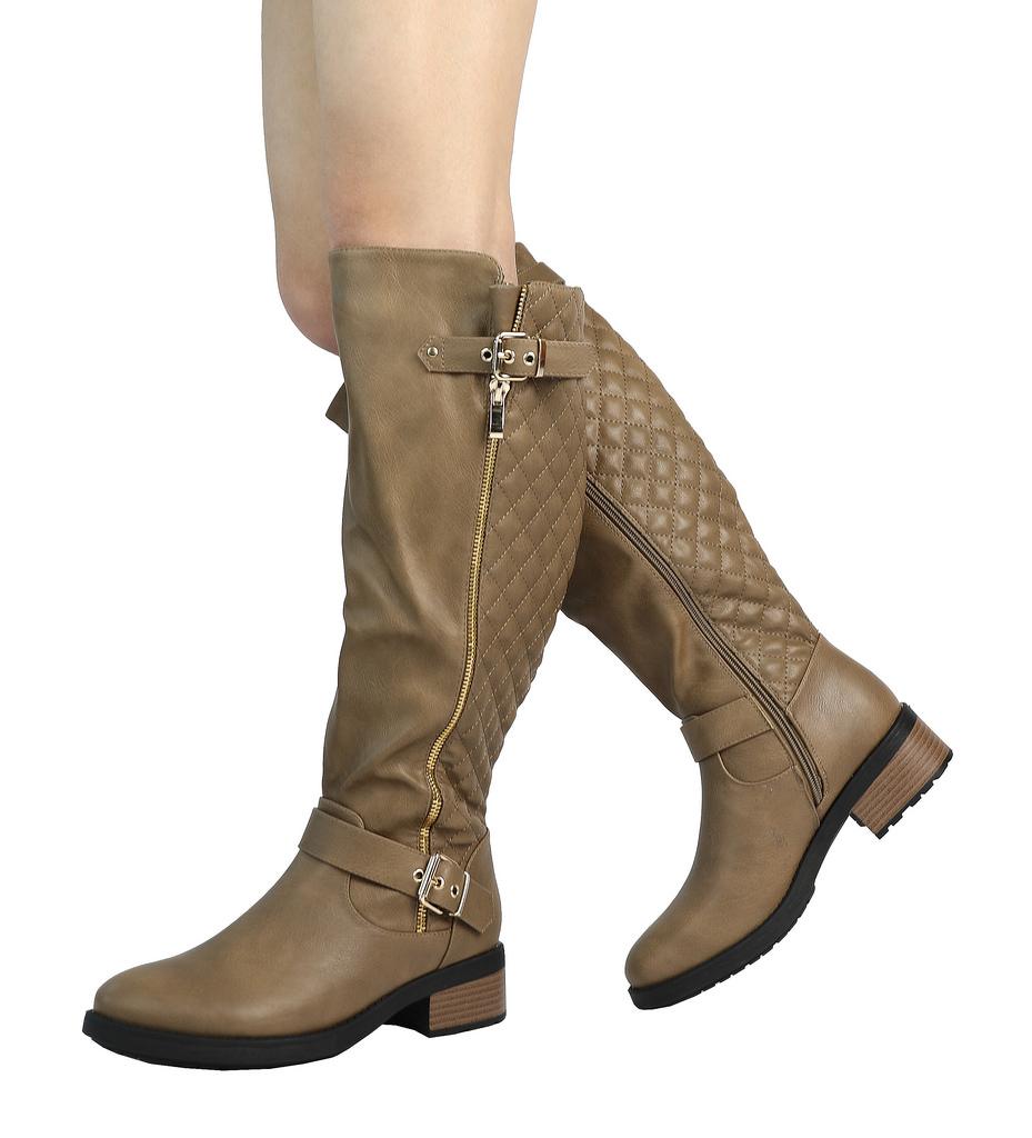 DREAM-PAIRS-Women-UTAH-Inner-Zipper-Knee-High-Riding-Boots-Wide-Calf-Available thumbnail 22