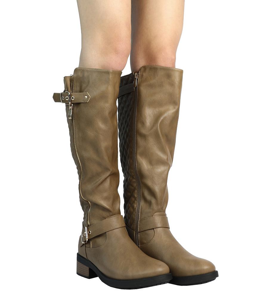 DREAM-PAIRS-Women-UTAH-Inner-Zipper-Knee-High-Riding-Boots-Wide-Calf-Available thumbnail 25