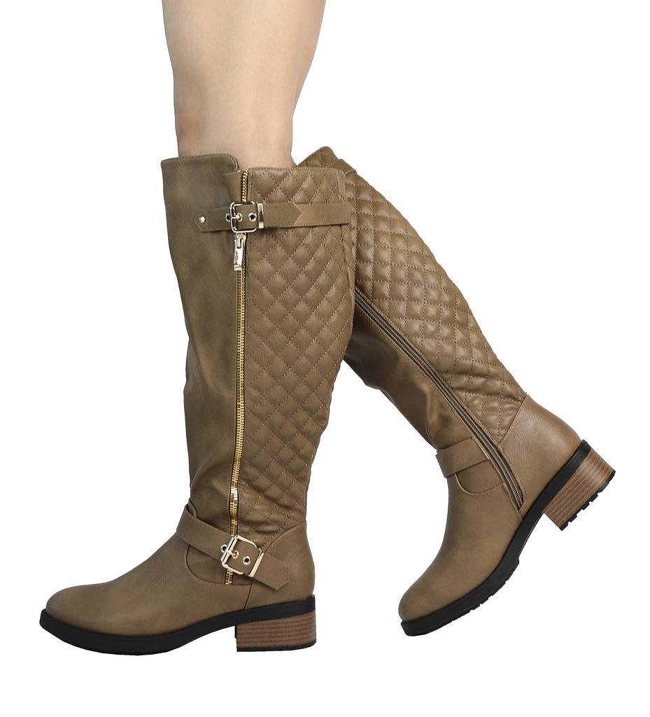DREAM-PAIRS-Women-UTAH-Inner-Zipper-Knee-High-Riding-Boots-Wide-Calf-Available thumbnail 23