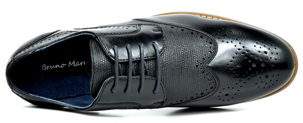Bruno-Marc-Florence-pour-homme-1-formelle-de-mariage-en-Cuir-Synthetique-Double-derbies-chaussures miniature 9