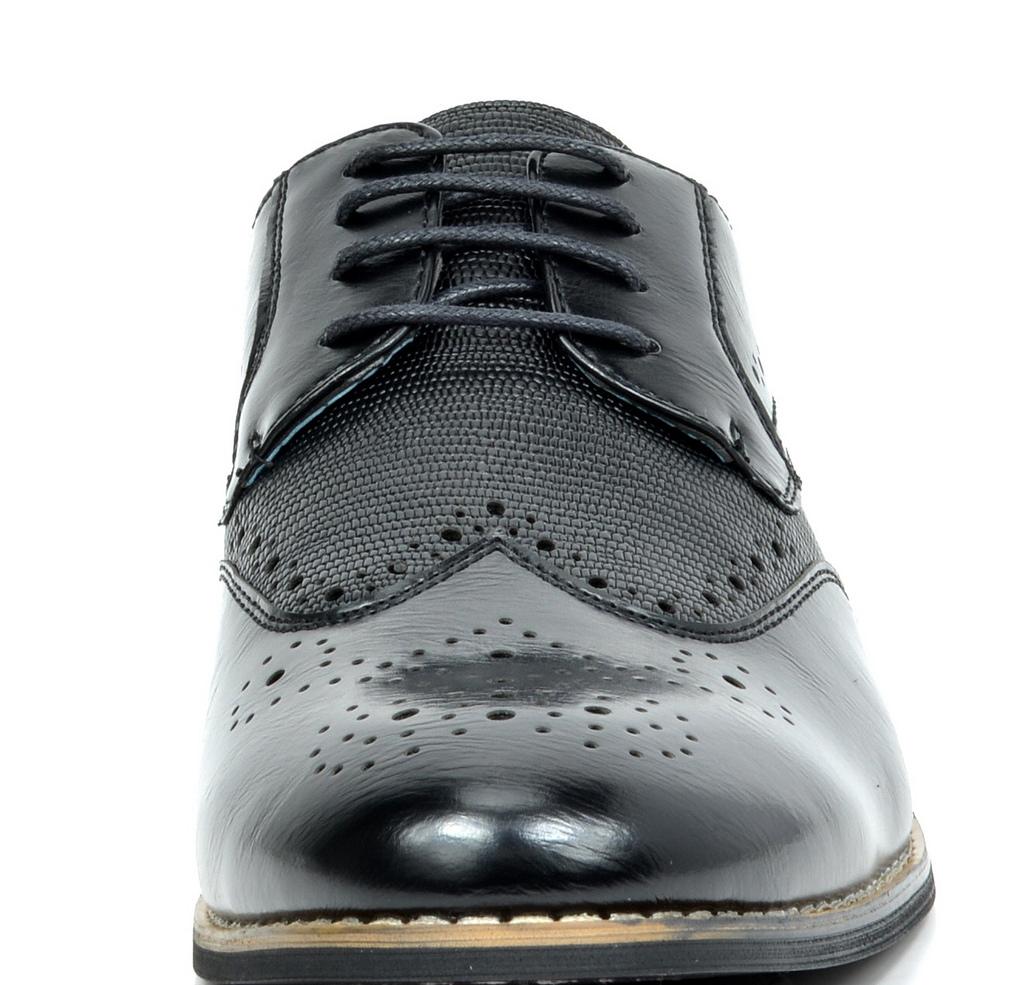 Bruno-Marc-Florence-pour-homme-1-formelle-de-mariage-en-Cuir-Synthetique-Double-derbies-chaussures miniature 7