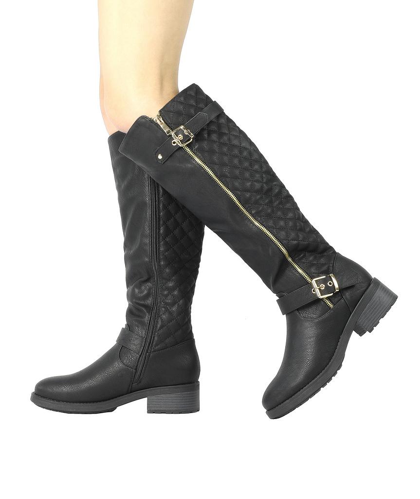 DREAM-PAIRS-Women-UTAH-Inner-Zipper-Knee-High-Riding-Boots-Wide-Calf-Available thumbnail 29