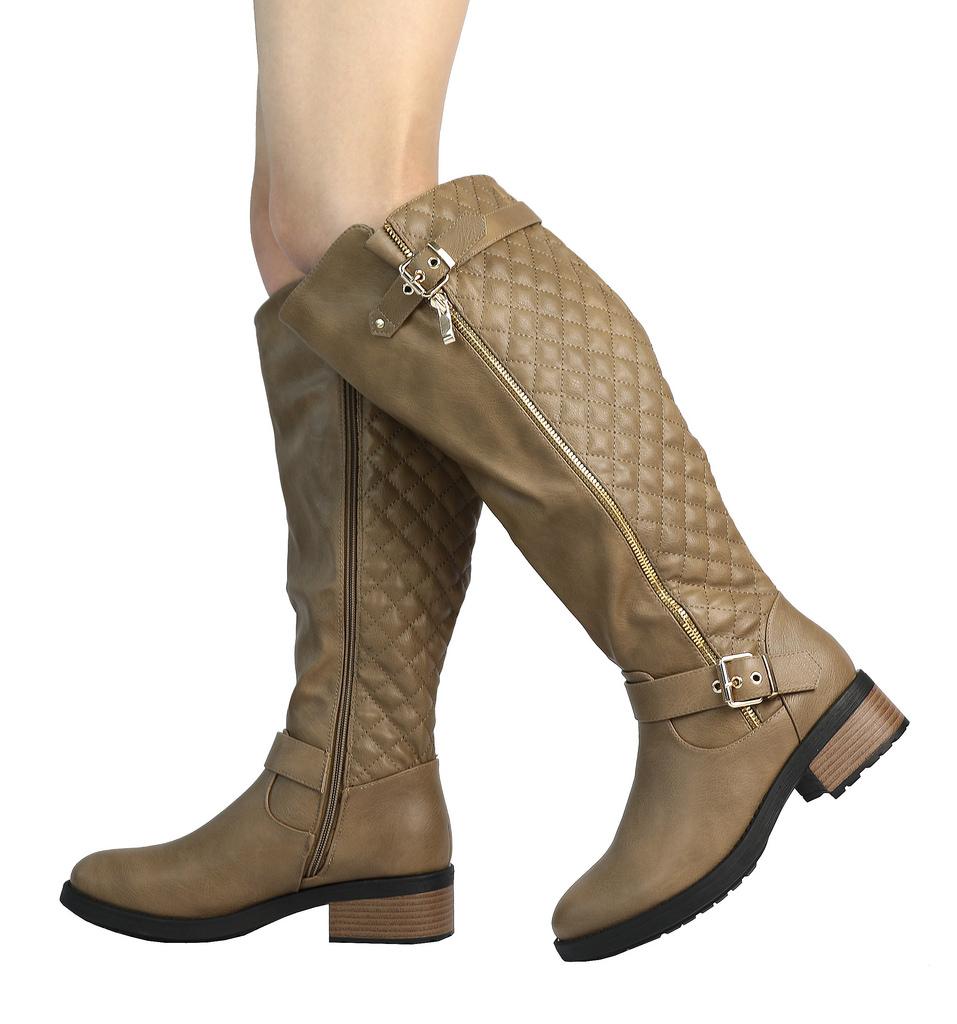 DREAM-PAIRS-Women-UTAH-Inner-Zipper-Knee-High-Riding-Boots-Wide-Calf-Available thumbnail 45
