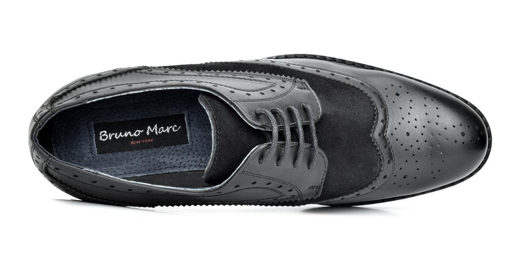 Bruno-Marc-Prince-pour-homme-en-cuir-double-lacets-Wing-Tip-formelle-robe-derbies-chaussures miniature 29