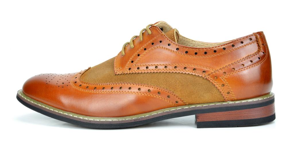 Bruno-Marc-Prince-pour-homme-en-cuir-double-lacets-Wing-Tip-formelle-robe-derbies-chaussures miniature 20