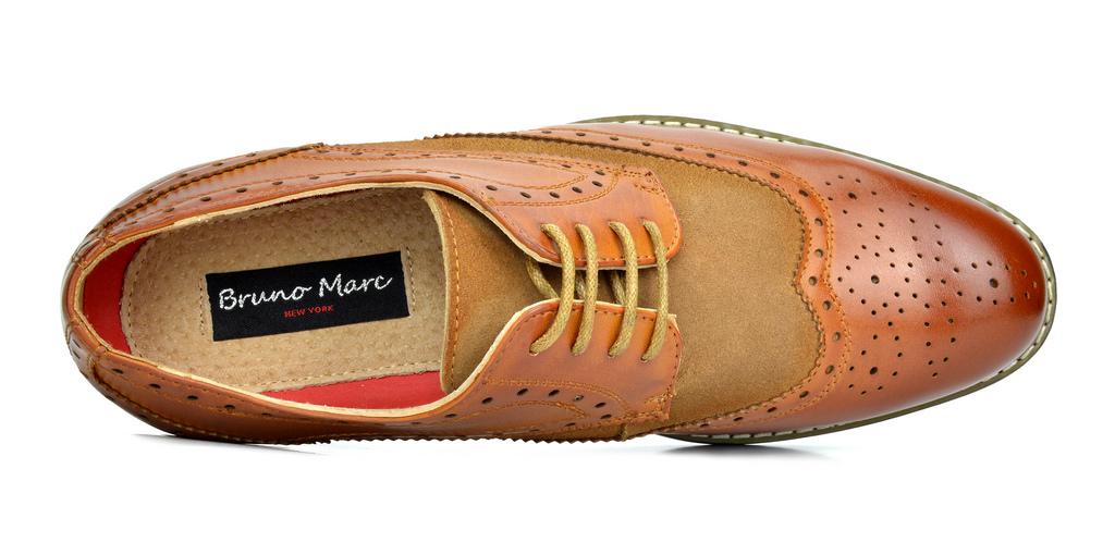 Bruno-Marc-Prince-pour-homme-en-cuir-double-lacets-Wing-Tip-formelle-robe-derbies-chaussures miniature 22