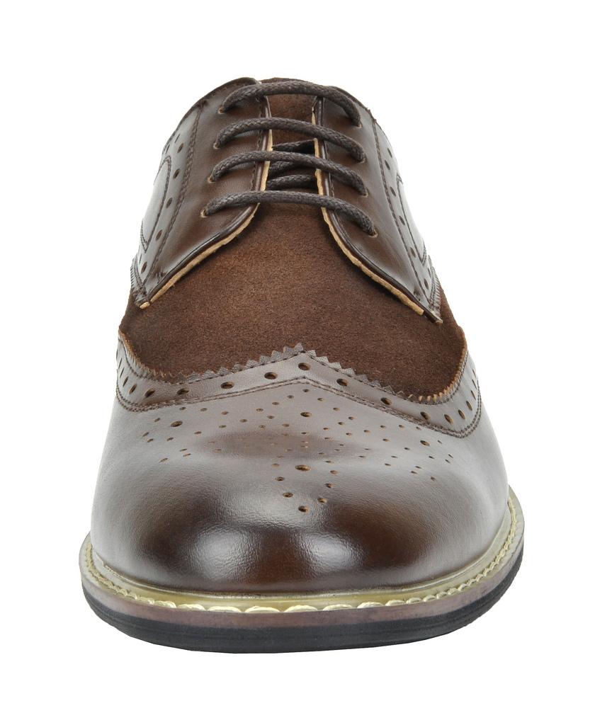Bruno-Marc-Prince-pour-homme-en-cuir-double-lacets-Wing-Tip-formelle-robe-derbies-chaussures miniature 16