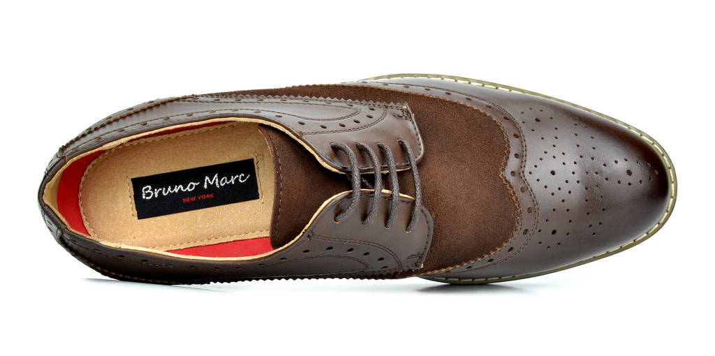 Bruno-Marc-Prince-pour-homme-en-cuir-double-lacets-Wing-Tip-formelle-robe-derbies-chaussures miniature 15