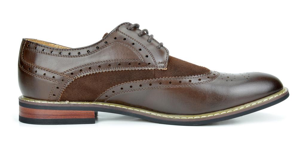 Bruno-Marc-Prince-pour-homme-en-cuir-double-lacets-Wing-Tip-formelle-robe-derbies-chaussures miniature 14