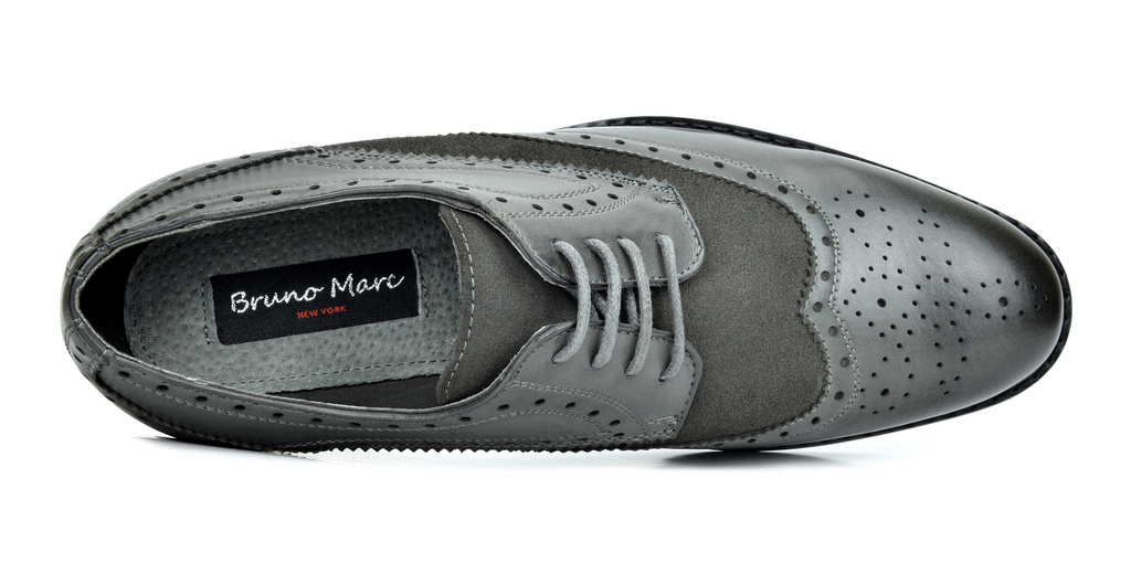Bruno-Marc-Prince-pour-homme-en-cuir-double-lacets-Wing-Tip-formelle-robe-derbies-chaussures miniature 8