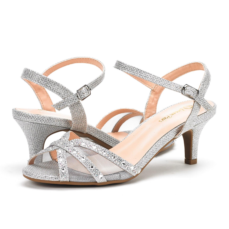 3e5bae770a17 NINA Women s Wedding Dress Rhinestones Open Toe Classic Low Heel ...