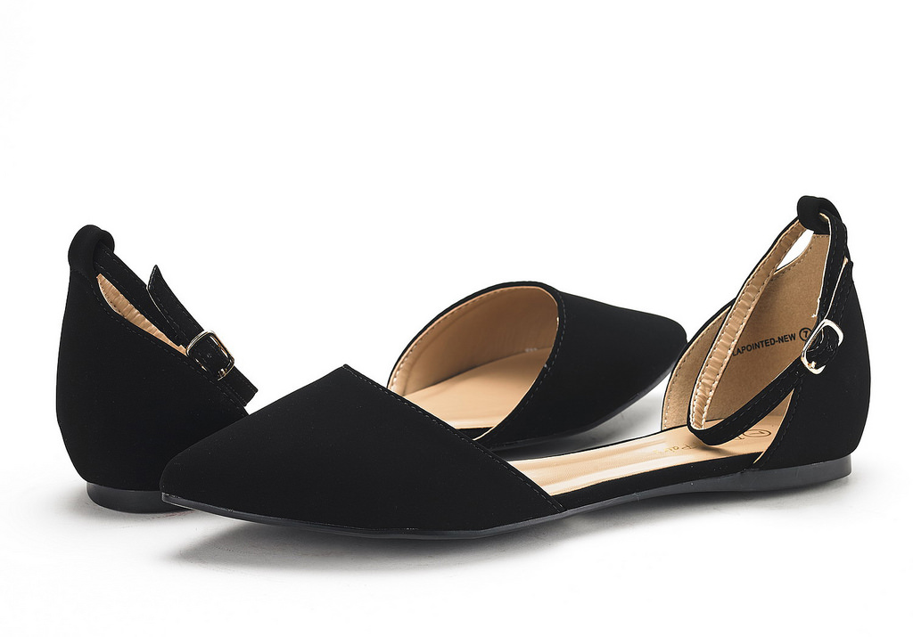 thumbnail 40 - DREAM PAIRS Women's Ballerina Ballet Flats Pointed Toe Ankle Strap Flat Shoes