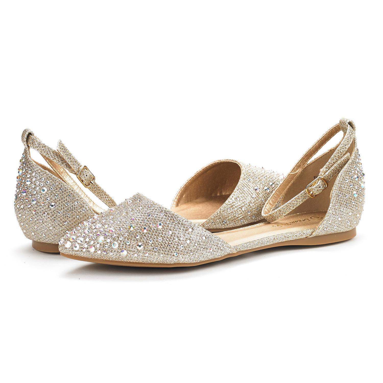 c00ae83e8 DREAM PAIRS FLAPOINTED-SHINE New Women Rhinestone Ballet Ankle Strap ...