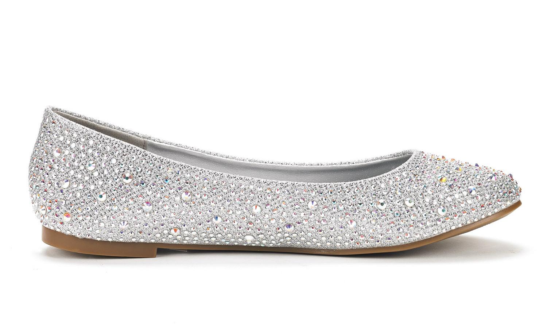 3cffa7396f164 DREAM PAIRS SOLESHINE Women Casual Rhinestone Solid Ballet Slip On ...