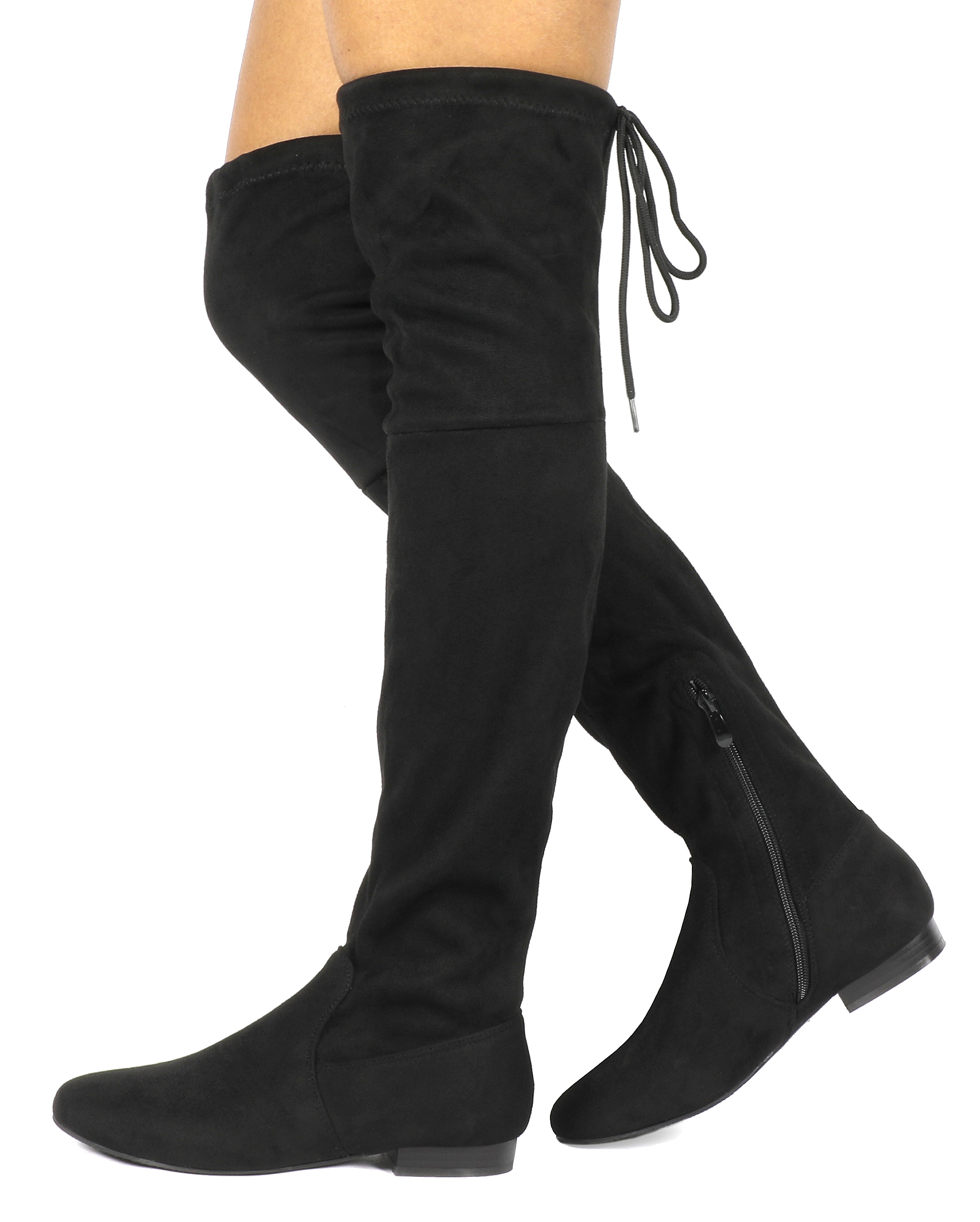 Women-Thigh-High-Flat-Boots-Stretchy-Drawstring-Tie-Fashion-Over-The-Knee-Boots miniatuur 23