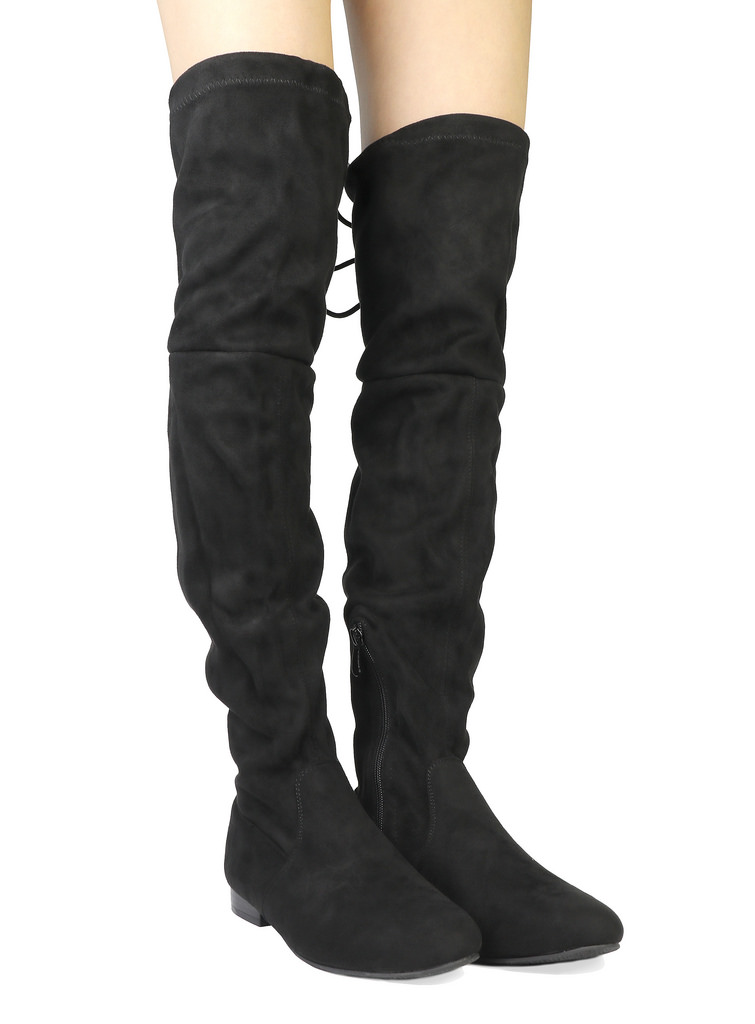 Women-Thigh-High-Flat-Boots-Stretchy-Drawstring-Tie-Fashion-Over-The-Knee-Boots miniatuur 25