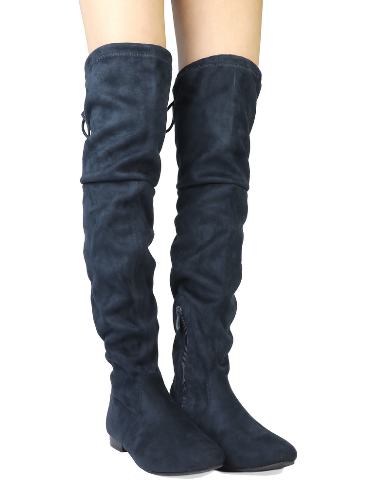 Women-Thigh-High-Flat-Boots-Stretchy-Drawstring-Tie-Fashion-Over-The-Knee-Boots miniatuur 21