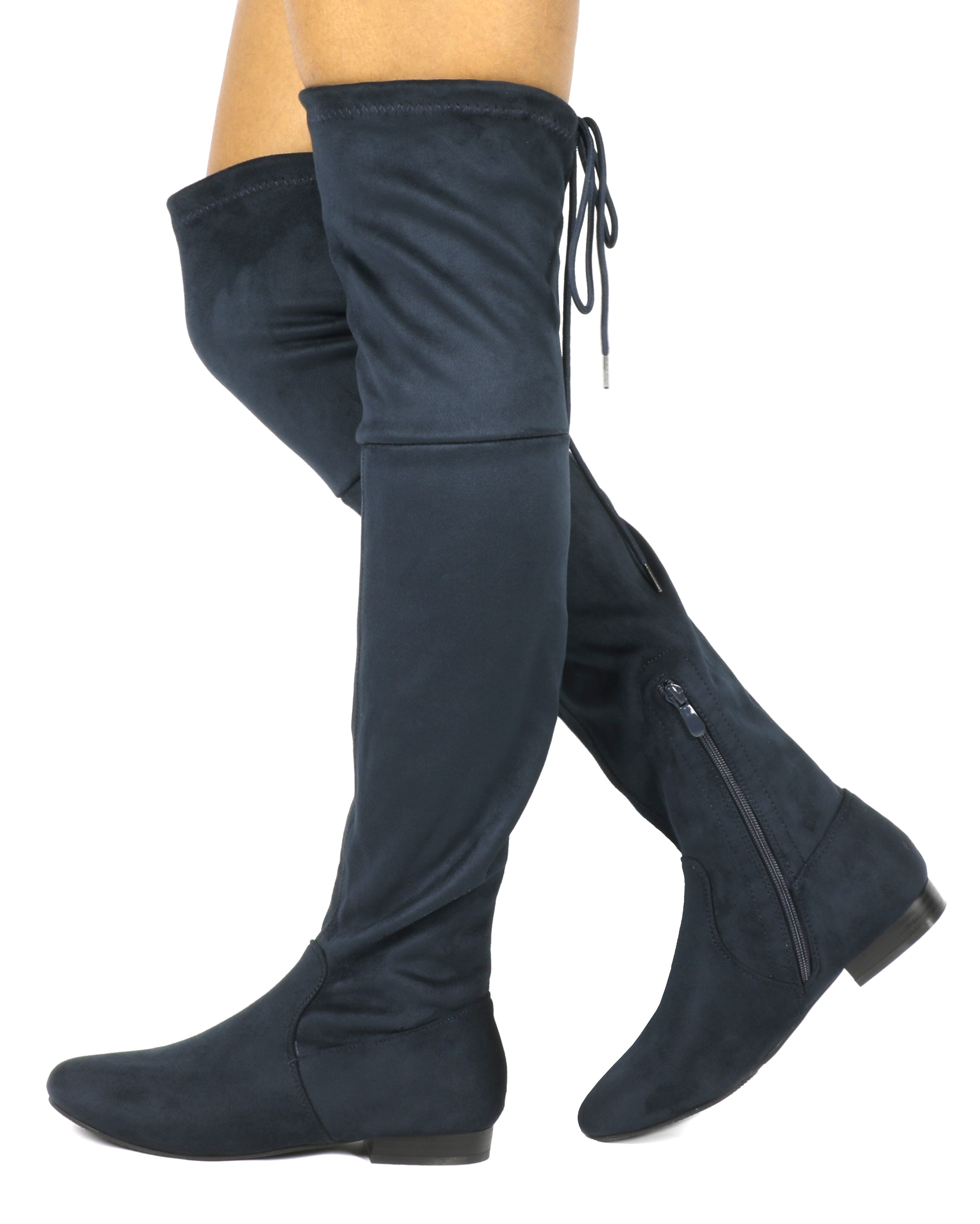 Women-Thigh-High-Flat-Boots-Stretchy-Drawstring-Tie-Fashion-Over-The-Knee-Boots miniatuur 19