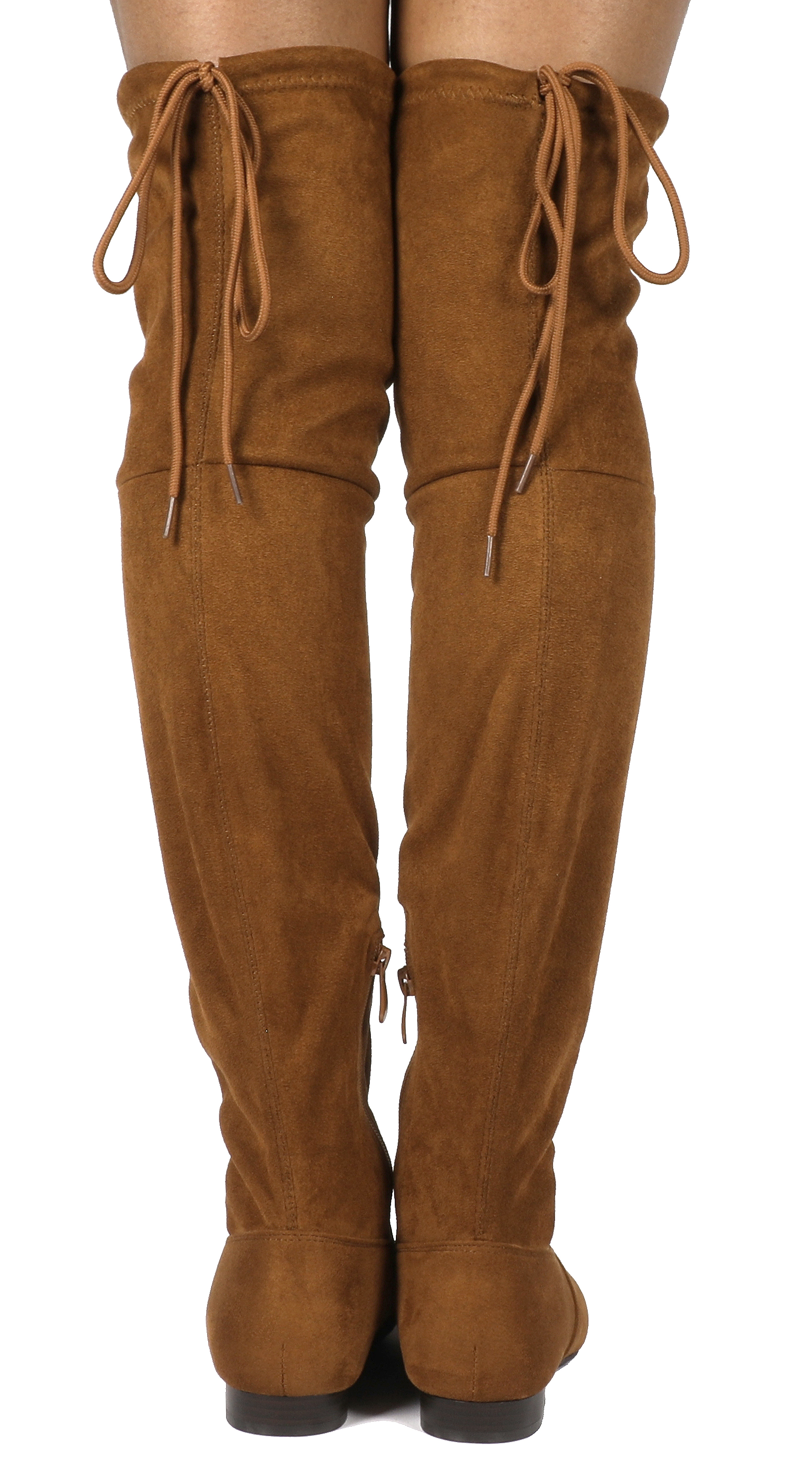 Women-Thigh-High-Flat-Boots-Stretchy-Drawstring-Tie-Fashion-Over-The-Knee-Boots miniatuur 16