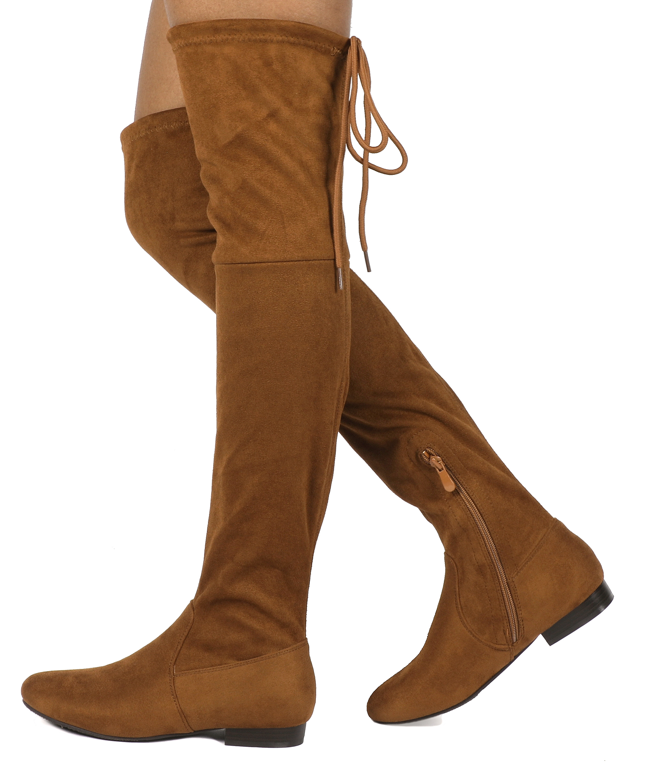 Women-Thigh-High-Flat-Boots-Stretchy-Drawstring-Tie-Fashion-Over-The-Knee-Boots miniatuur 15