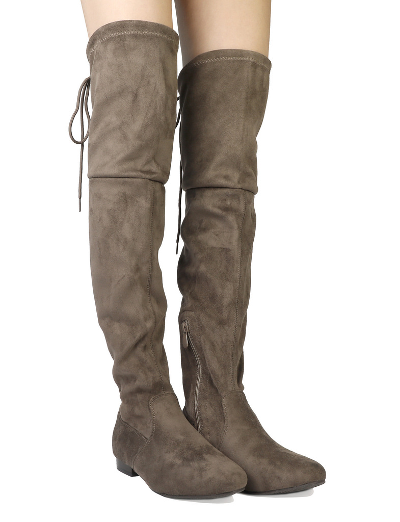 Women-Thigh-High-Flat-Boots-Stretchy-Drawstring-Tie-Fashion-Over-The-Knee-Boots miniatuur 13