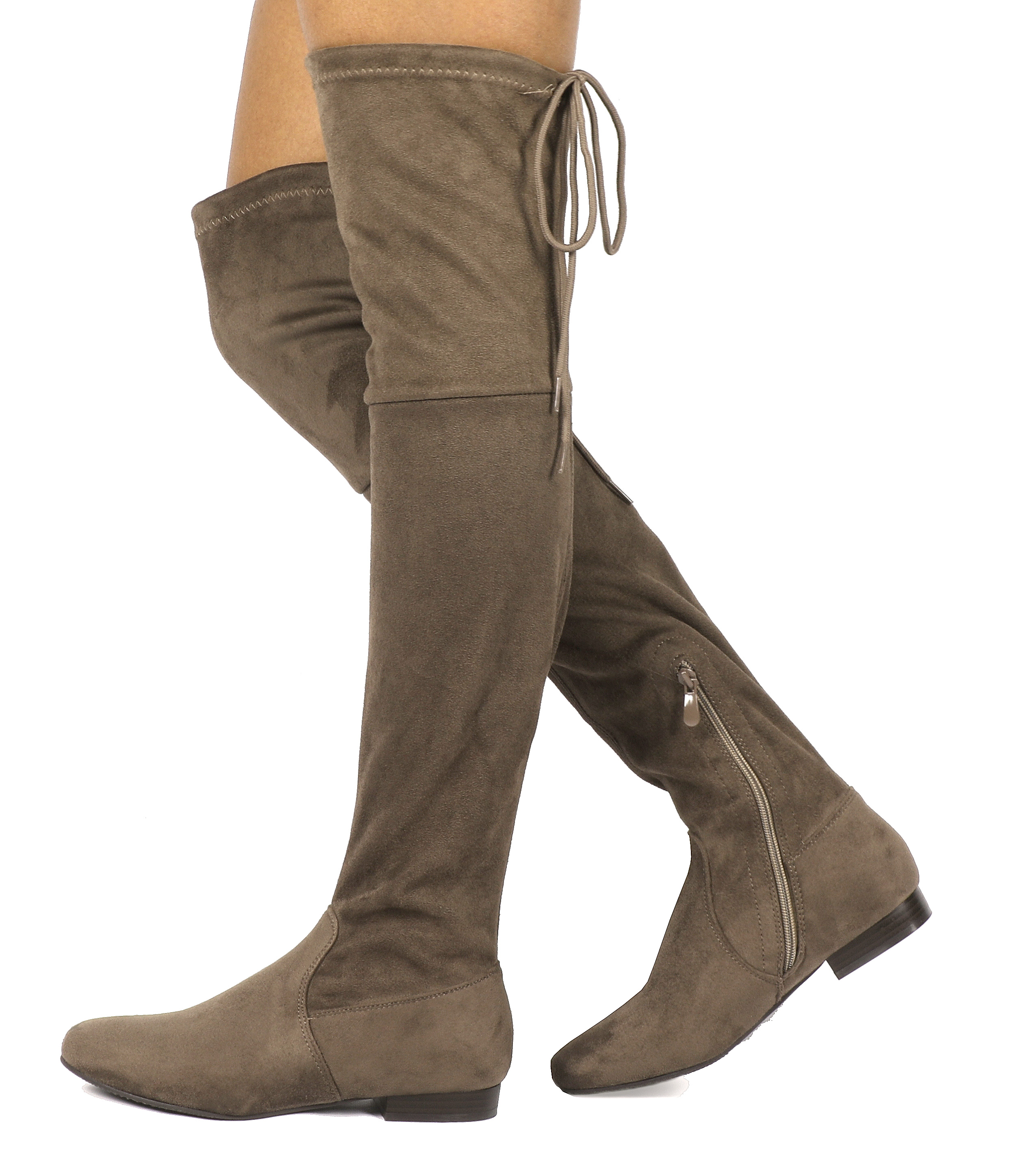 Women-Thigh-High-Flat-Boots-Stretchy-Drawstring-Tie-Fashion-Over-The-Knee-Boots miniatuur 11