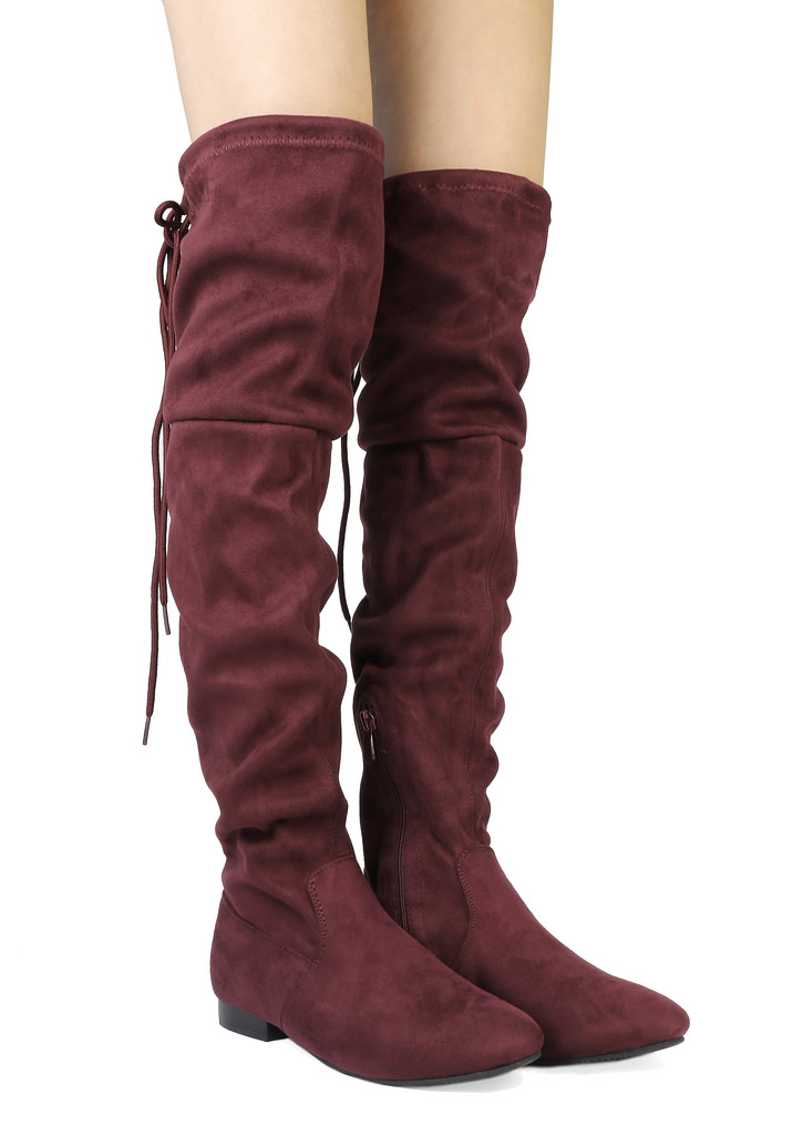 Women-Thigh-High-Flat-Boots-Stretchy-Drawstring-Tie-Fashion-Over-The-Knee-Boots miniatuur 9