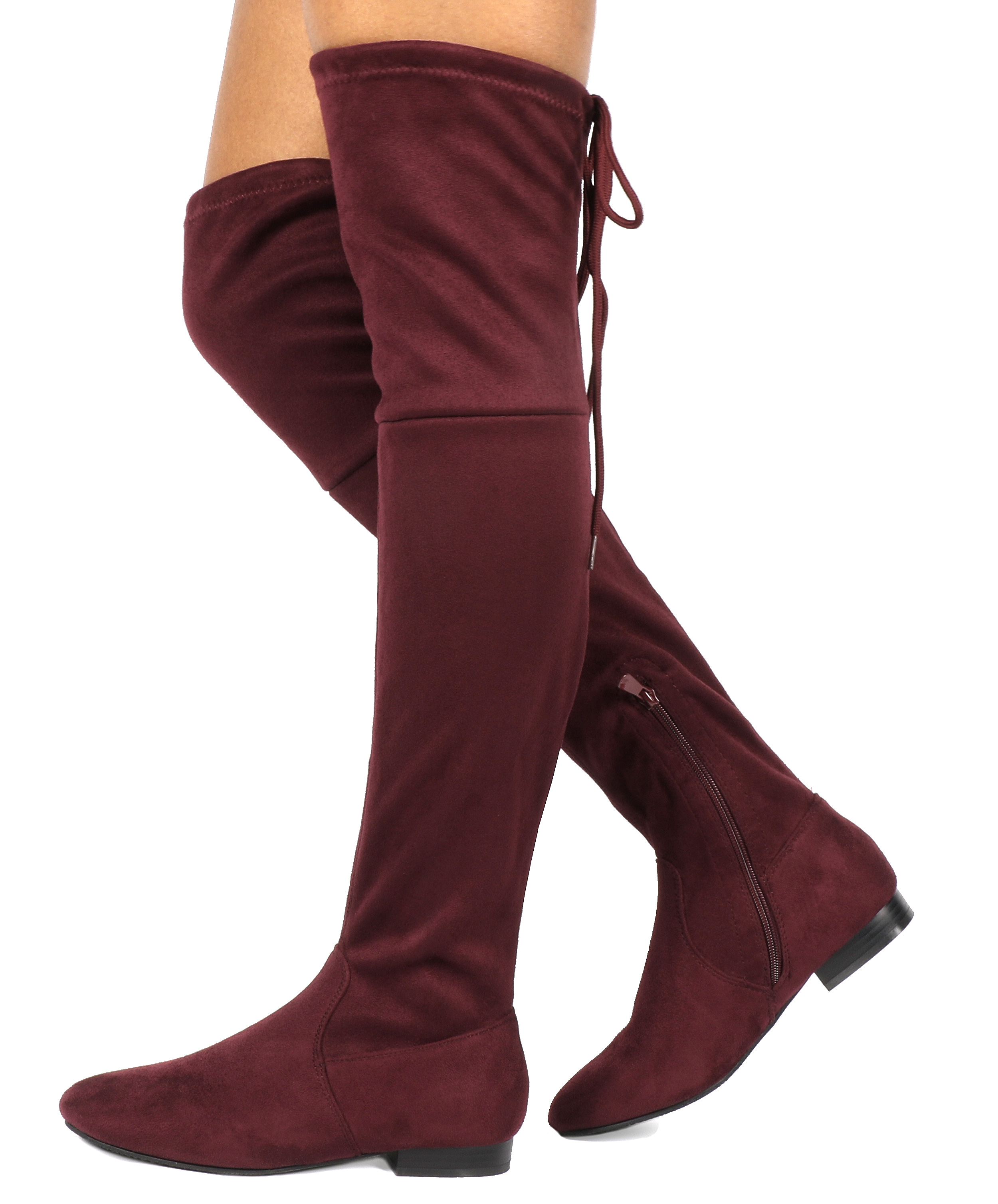 Women-Thigh-High-Flat-Boots-Stretchy-Drawstring-Tie-Fashion-Over-The-Knee-Boots miniatuur 7