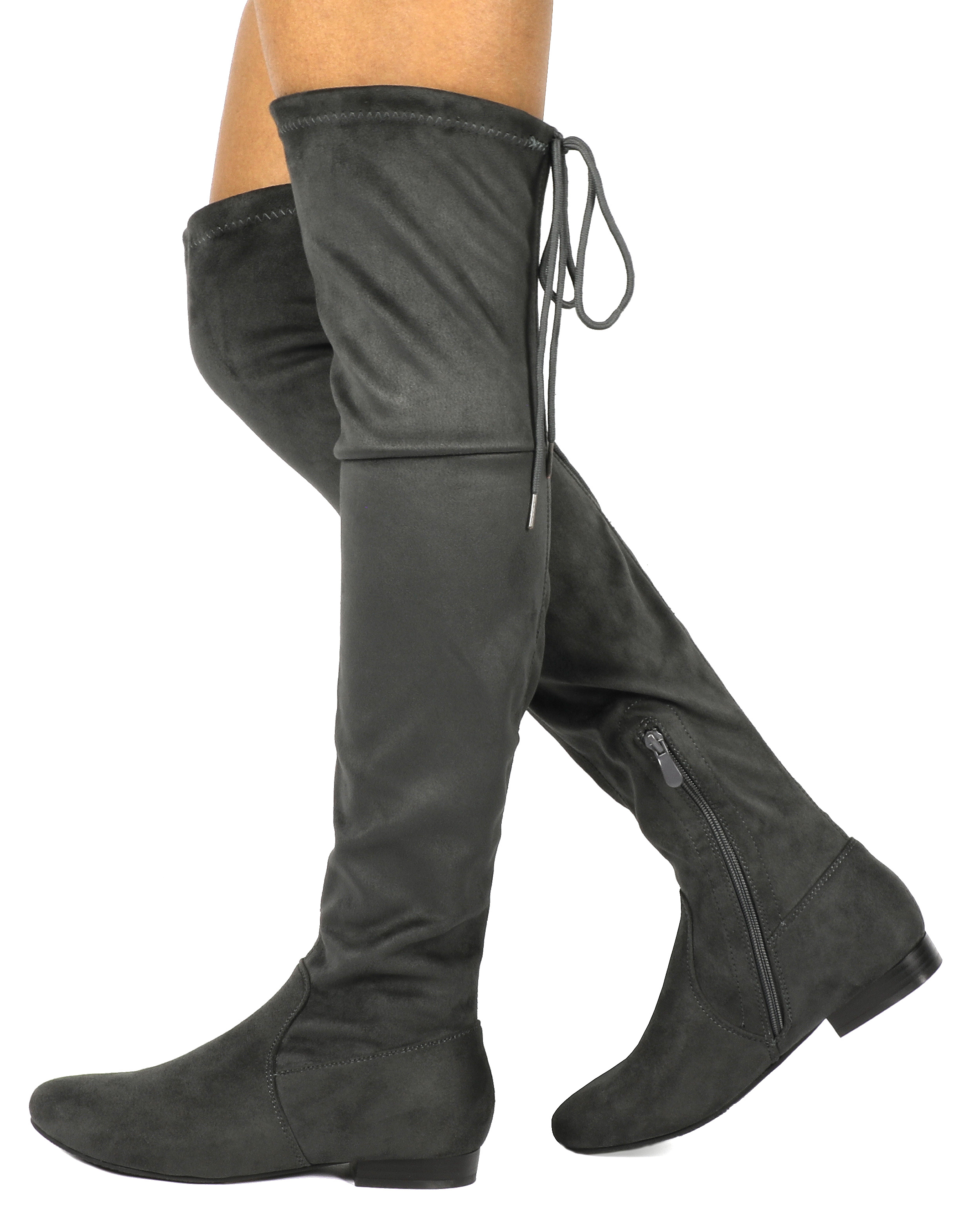 Women-Thigh-High-Flat-Boots-Stretchy-Drawstring-Tie-Fashion-Over-The-Knee-Boots miniatuur 3