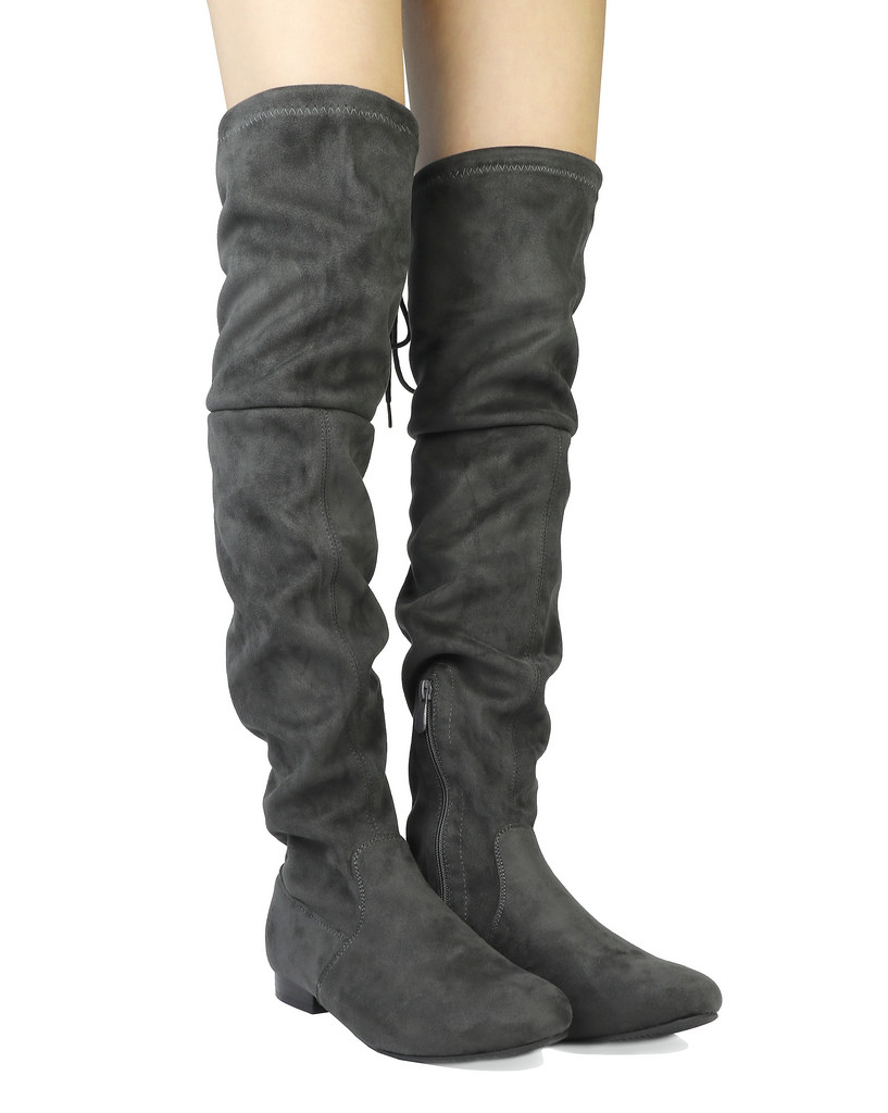 Women-Thigh-High-Flat-Boots-Stretchy-Drawstring-Tie-Fashion-Over-The-Knee-Boots miniatuur 5