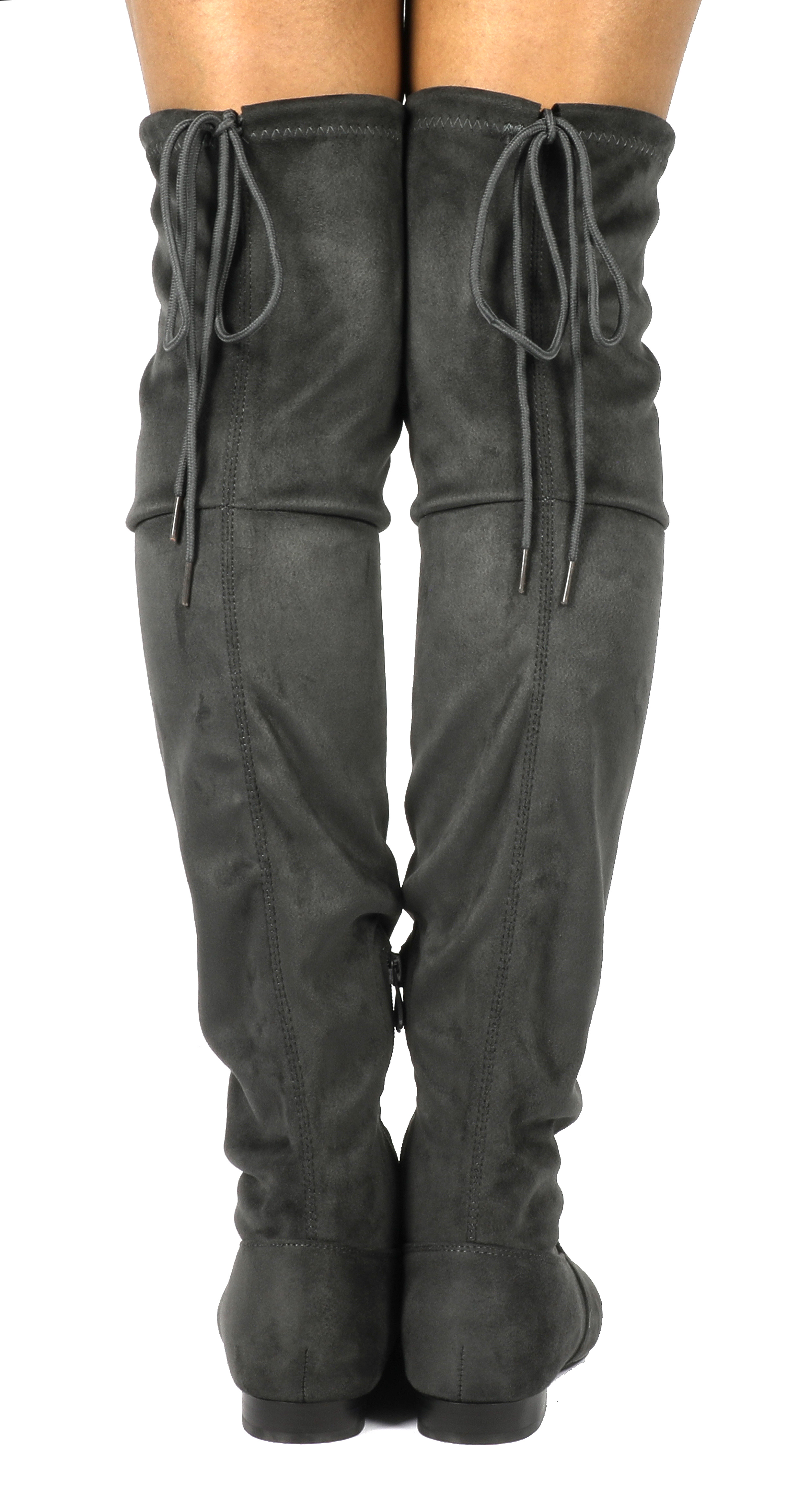 Women-Thigh-High-Flat-Boots-Stretchy-Drawstring-Tie-Fashion-Over-The-Knee-Boots miniatuur 4