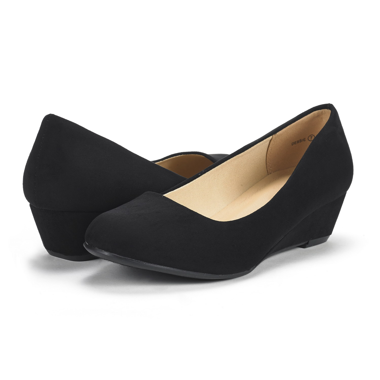 DREAM-PAIRS-Women-039-s-Mid-Wedge-Heel-Shoes-Slip-On-Comfort-Dress-Shoes-Suede-PU thumbnail 36