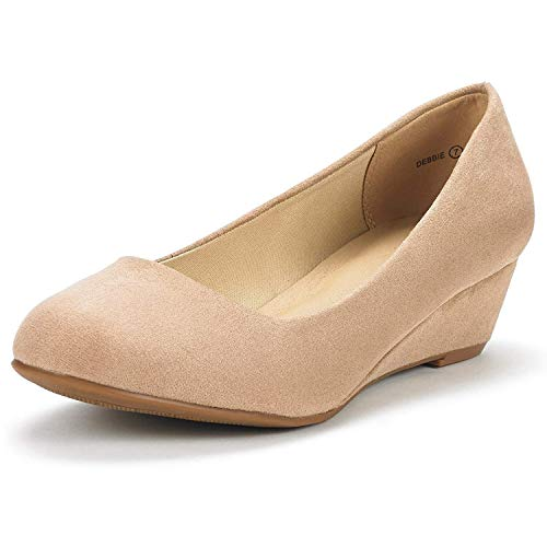 DREAM-PAIRS-Women-039-s-Mid-Wedge-Heel-Shoes-Slip-On-Comfort-Dress-Shoes-Suede-PU thumbnail 6