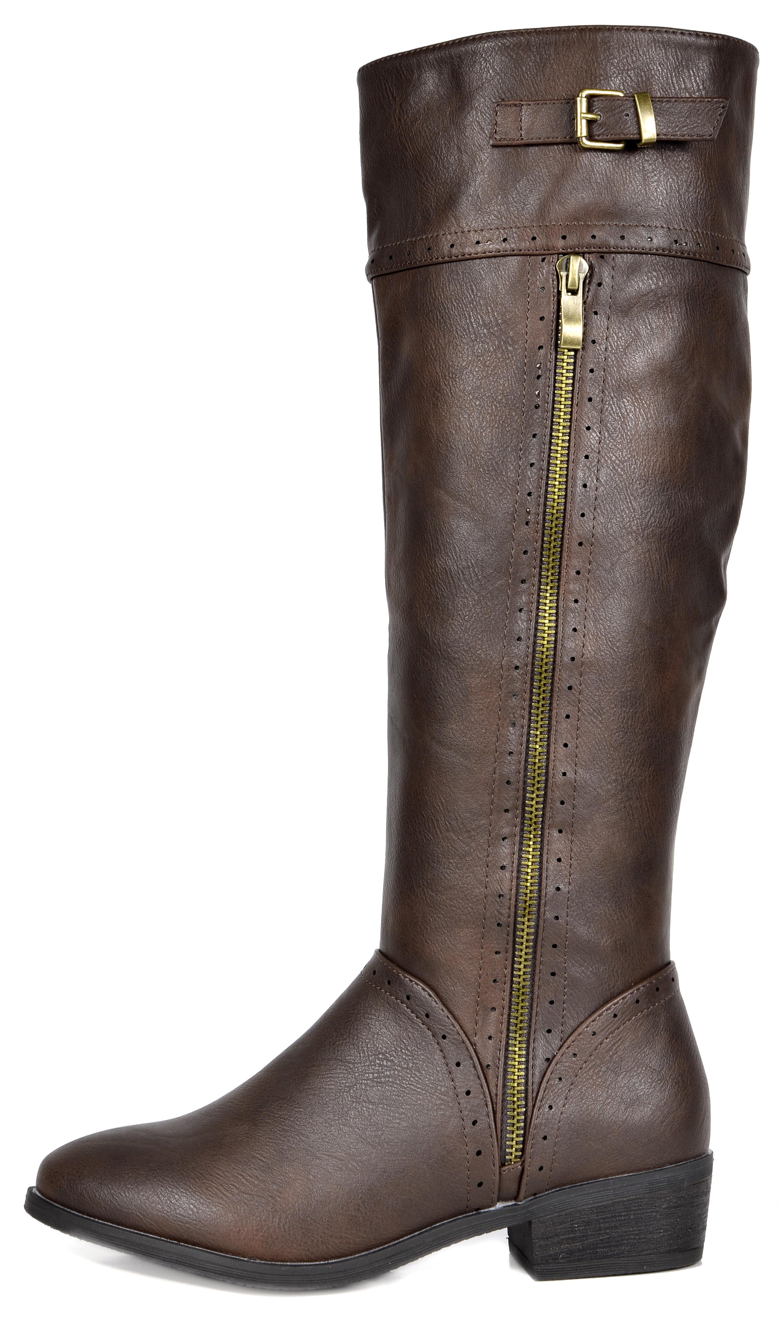 83cda459e0e DREAM PAIRS Women s Koson Knee High Winter Riding Boots (Wide Calf ...