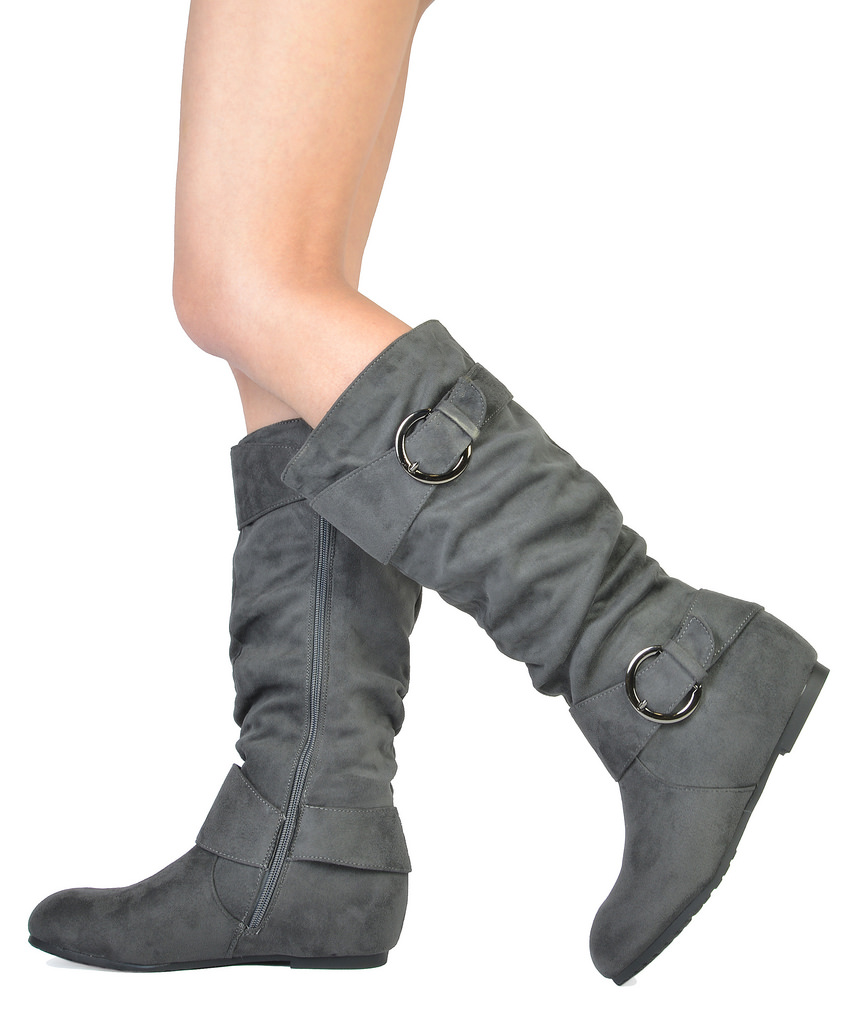50b2f0e640179 Grey Suede Knee High Wedge Boots - Best Picture Of Boot Imageco.Org