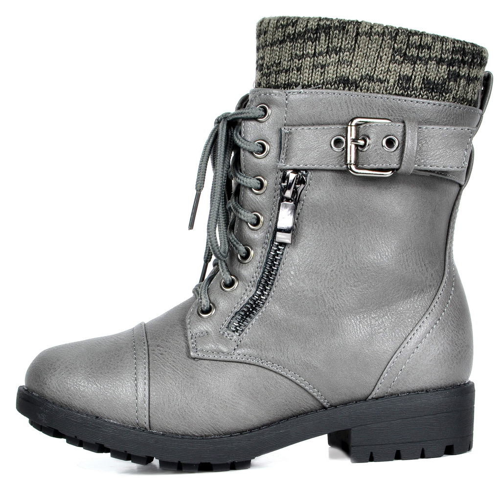 Dream Pairs Toddler Military Amazon-K Girl/'s Lace Up Ankle Mid Calf Combat Boots