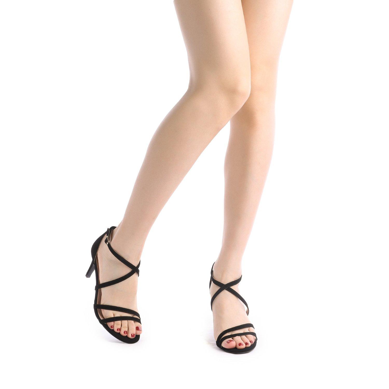 thumbnail 61 - Women's Open Toe Cross Strappy Sandals Heels Ankle Strap Wedding  Dress Shoes US