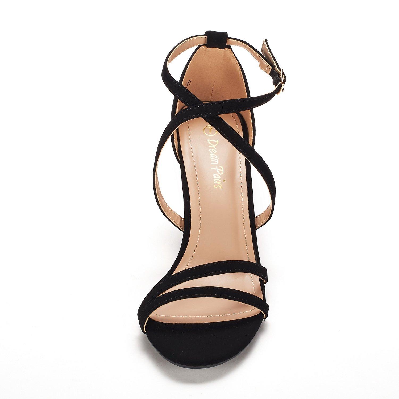 thumbnail 57 - Women's Open Toe Cross Strappy Sandals Heels Ankle Strap Wedding  Dress Shoes US