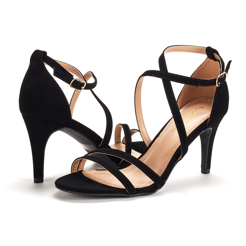thumbnail 59 - Women's Open Toe Cross Strappy Sandals Heels Ankle Strap Wedding  Dress Shoes US