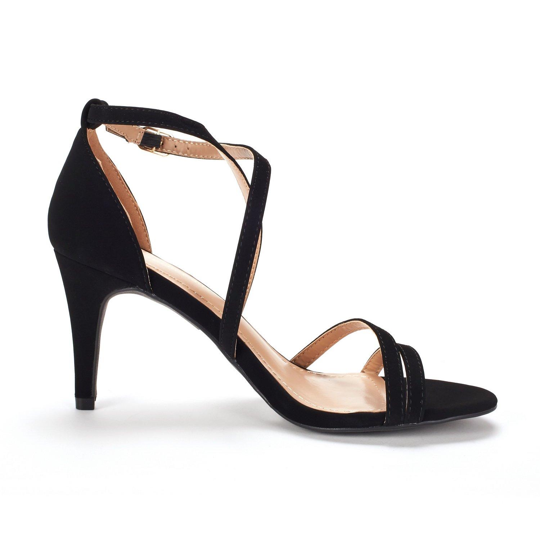 thumbnail 58 - Women's Open Toe Cross Strappy Sandals Heels Ankle Strap Wedding  Dress Shoes US