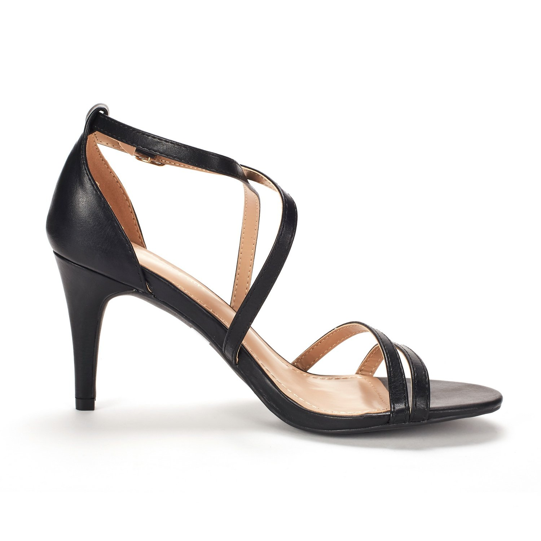 thumbnail 52 - Women's Open Toe Cross Strappy Sandals Heels Ankle Strap Wedding  Dress Shoes US