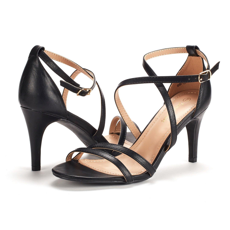 thumbnail 53 - Women's Open Toe Cross Strappy Sandals Heels Ankle Strap Wedding  Dress Shoes US