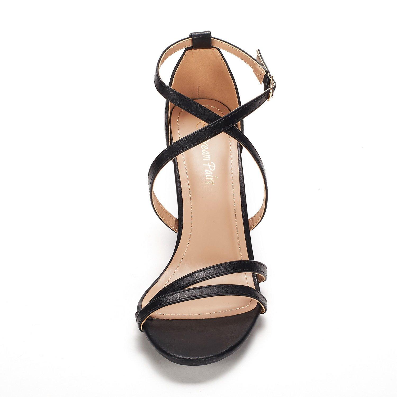 thumbnail 51 - Women's Open Toe Cross Strappy Sandals Heels Ankle Strap Wedding  Dress Shoes US