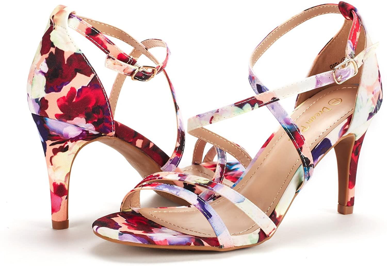 thumbnail 47 - Women's Open Toe Cross Strappy Sandals Heels Ankle Strap Wedding  Dress Shoes US