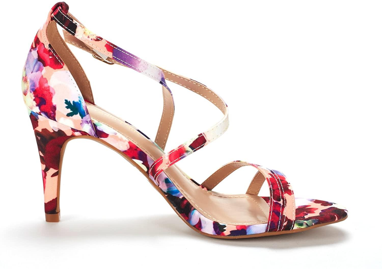 thumbnail 46 - Women's Open Toe Cross Strappy Sandals Heels Ankle Strap Wedding  Dress Shoes US