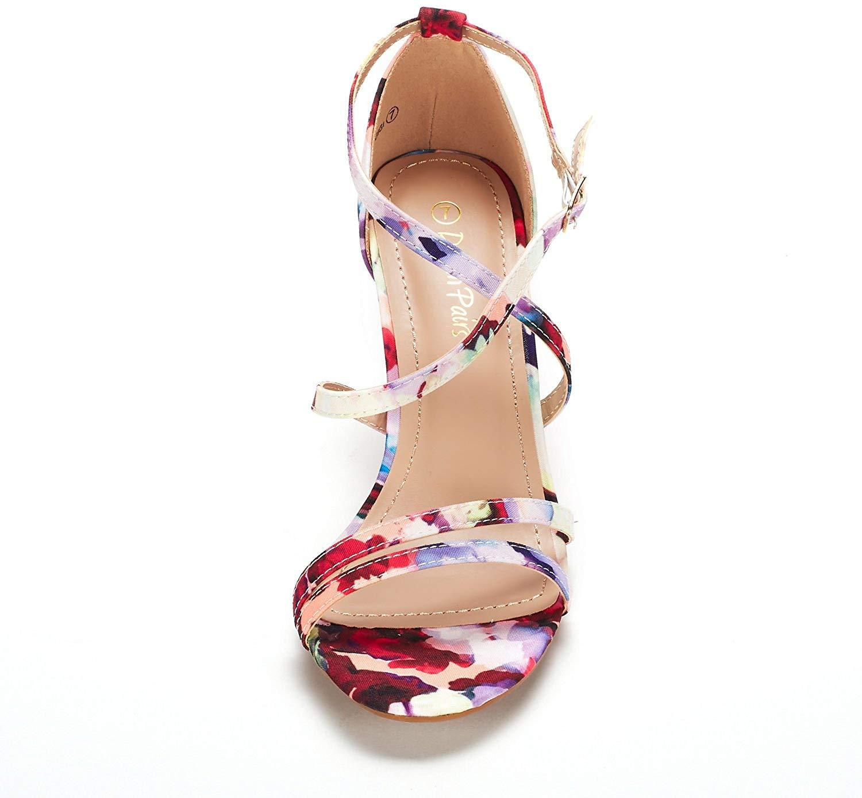 thumbnail 45 - Women's Open Toe Cross Strappy Sandals Heels Ankle Strap Wedding  Dress Shoes US